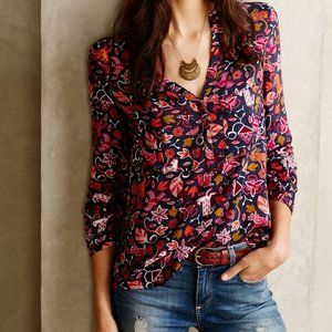 Anthropologie Maeve Moonflower Henley Blouse, 4